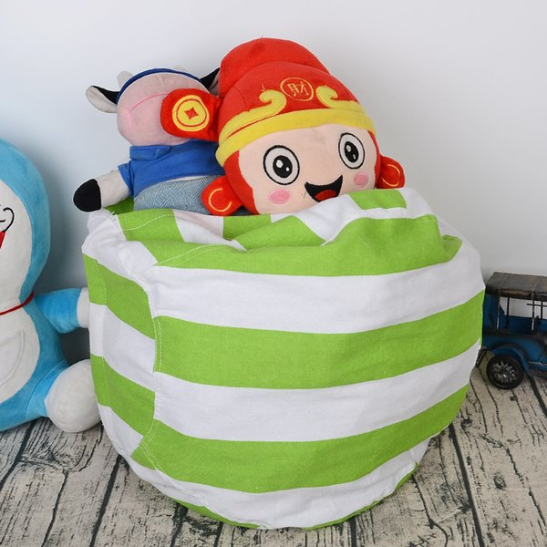 best selling 3Colors Canvas Kids Storage Bean Bags Plush Toys Beanbag Chair Bedroom Stuffed Animal Room Mats Portable Clothes Storage Bag Laundry