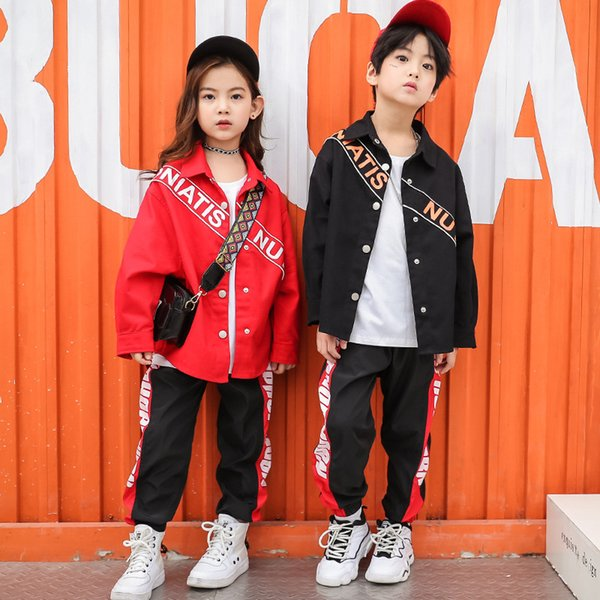 Kids Ballroom Costumes Hip Hop Clothing Dance Girls Shirt Jacket Pant Jazz Performance Shows Exhibition Suits Streetwear Outfits