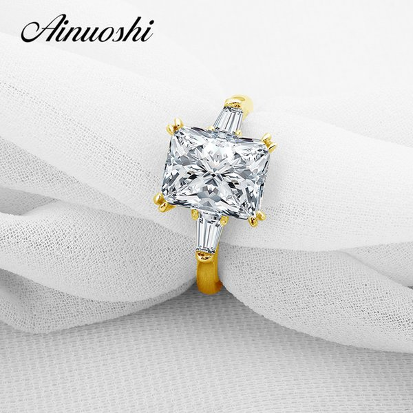 ainuoshi 10k pure yellow gold ring 3 big brilliant rectangle cut wedding ring sona diamond anillos fine jewelry women, Golden;silver