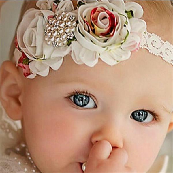 Venta al por menor 1 Unids / lote Hermosa Perla Bebé Kid Diadema Impresa Flor Elástica Chica Kid Diadema Headwear Infantil Niños Hairwear