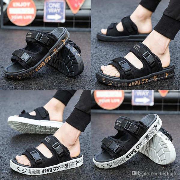 top popular designer Slippers compile Slippers Summer men's shoes flip flops for loose-fitting men beach slippers rubber flip-flops outdoor sandals 2019
