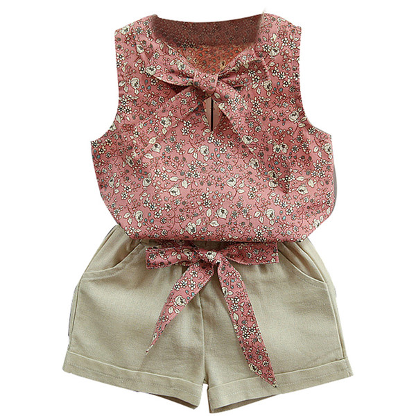 Mädchen Kind Kind Casual O Neck Sleeveless Fliege Sommer Floral Printed Top T-Shirt und Shorts 2 Sätze