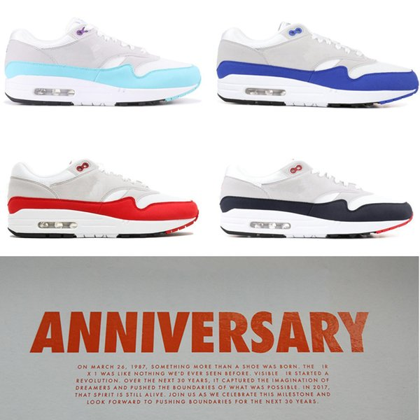 30th Anniversary 1 OG Mens Running Shoes Jewel White University Blue Women Sports Trainers White Aqua Baby Blue University Red Grey Sneakers Running