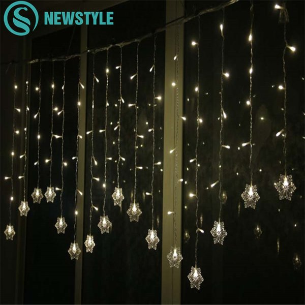 String Lights Christmas Outdoor Decor 3 5m 96 Leds Drop 65cm Curtain Snowflake String Led Lights Garden Party Holiday Lighting Novelty String Lights