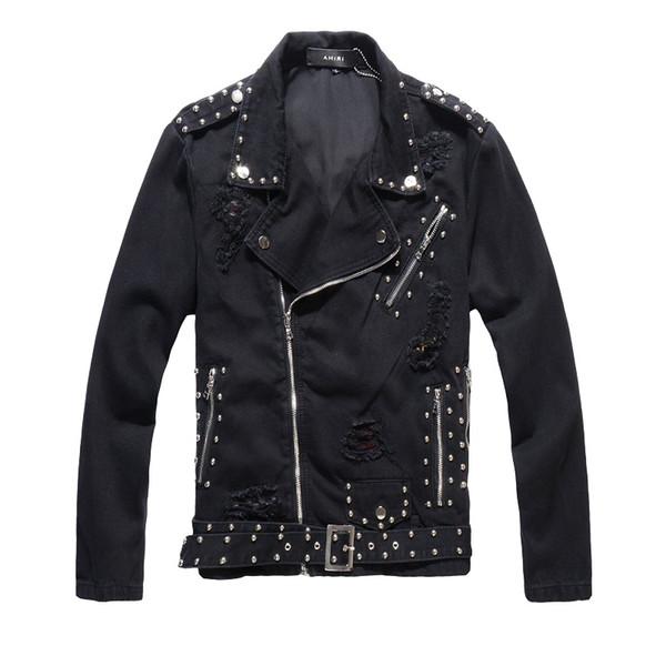 Top Men black motorcycle denim jacket male Korean version of the self-cultivation trend personality rivet jacket social denim jacket Coats
