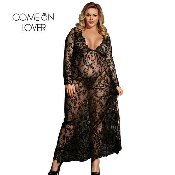 Comeonlover Sexy Dress Erotic Sexi Lingerie Porno Bianco Manica lunga trasparente Lingerie Plus Size Lace Sleepwear Gown RI80497 D18110701