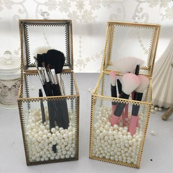 Golden Retro Glass Makeup Brush Box With Lid Beauty Brush Tube Set Storage Box Anti-dust Jewelry