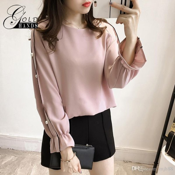 Autumn Women Casual Pearl Beaded Long Sleeved Pullover Shirts Female Tops Shirt Outwear Fits to Plus Size Blouse Chiffon Clothing