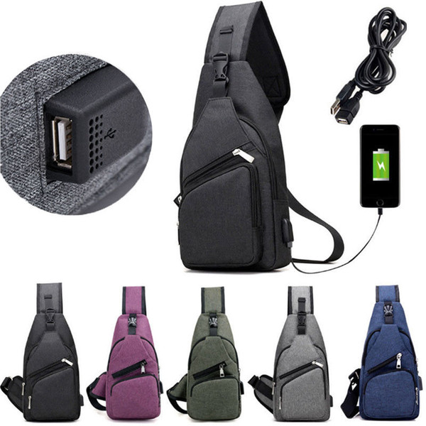 best selling Men Chest Pack USB Charging Messenger Bags Casual Travel Crossbody Shoulder Bag Polyester Sling Bags FFA196 5colors 60PCS