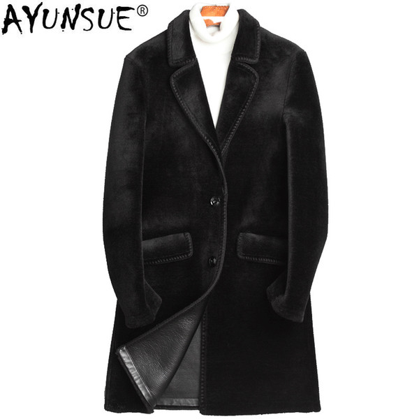 AYUNSUE Real 100% Wool Fur Coat Men Winter PU Leather Liner Jacket Sheep Shearling Fur Overcoat Abrigo Hombre Invierno ZL855