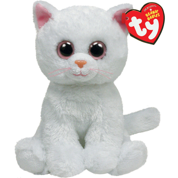 """Pyoopeo Ty Beanie Babies 6"""" 15cm Bianca the White Cat Plush Regular Stuffed Animal Collection Soft Doll Toy with Heart Tag"""