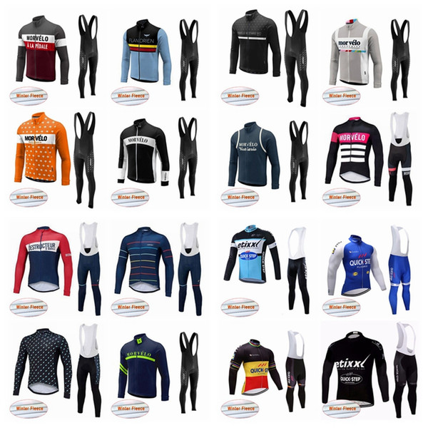 Morvelo QUICK STEP team Cycling Winter Thermal Fleece jersey bib pants sets  men s autumn multiple choices warm bike sets Q50423 d69c93430