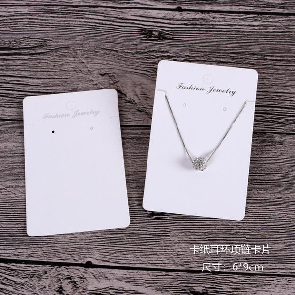 best selling New Product 6*9cm 6*8.5cm White Color Earring Necklace Card Large Stock Displays Packing Cards HangTag Can Custom Logo