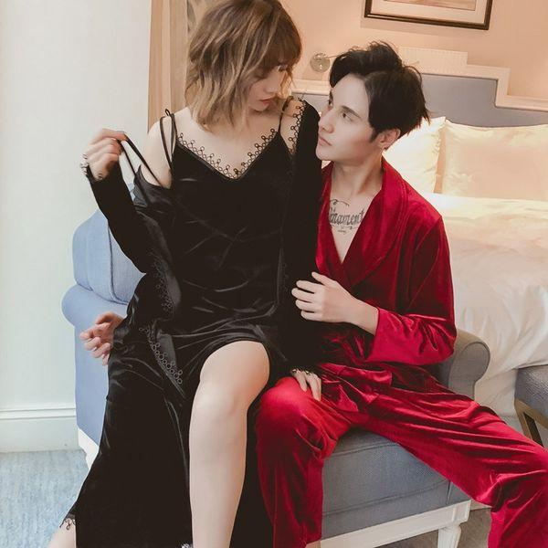 Vintage Women Men Velvet Nightgown Sleepwear Autumn Warm Robe Dress Gown Kimono Lace Lounge Nightwear Pajamas