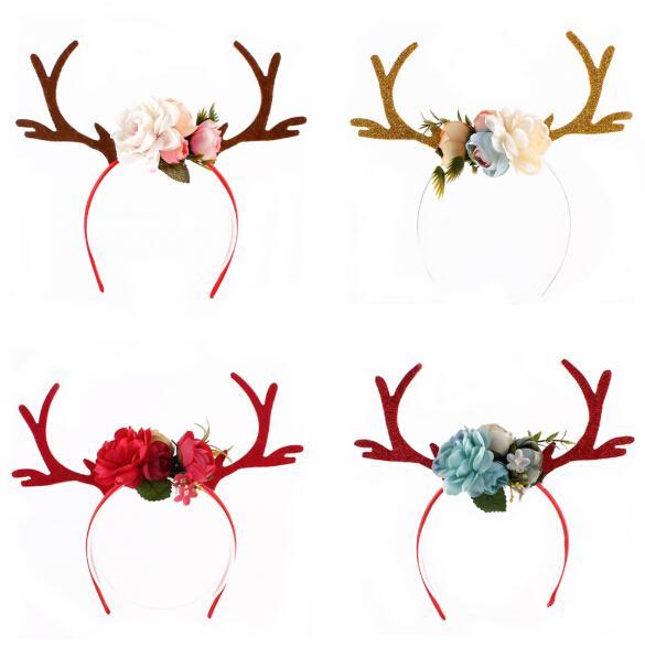 Christmas Headband Elk Deer Antlers Ear Hair Hoop with Flowers Antlers Costume Ear Party Hair band Floral Hairband