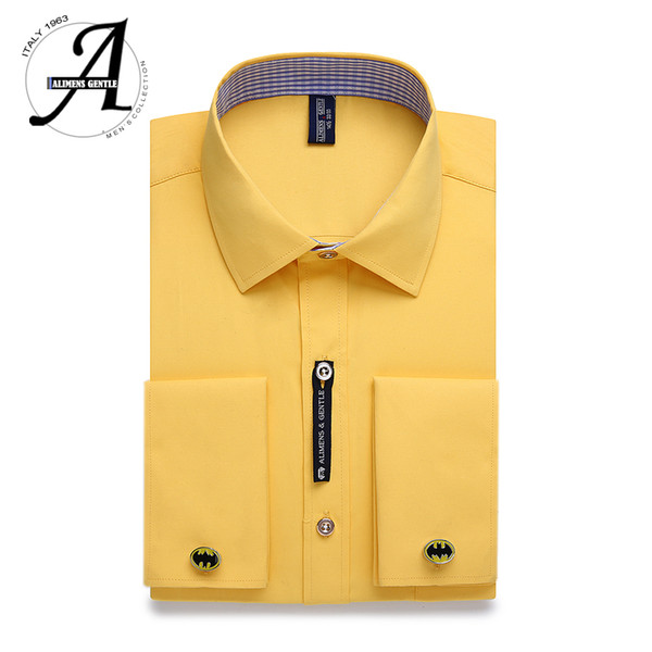 Alimens & Gentle Mens French Cuff Dress Shirt Men Long Sleeve Solid Color Striped Style Cufflink Include 2017 Fashion New D18102302