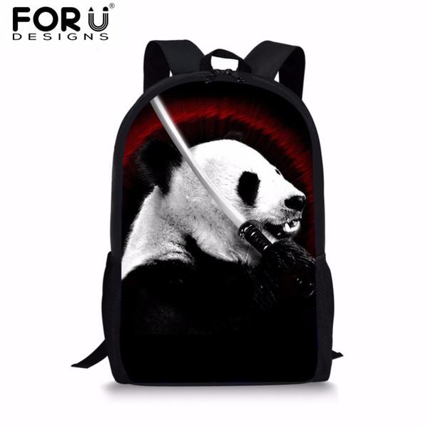 FORUDESIGNS Cute Backpack for Teenage Boys Girls Animal Panda Printing Kids Casual School Backpack Student Softback Sack Pack