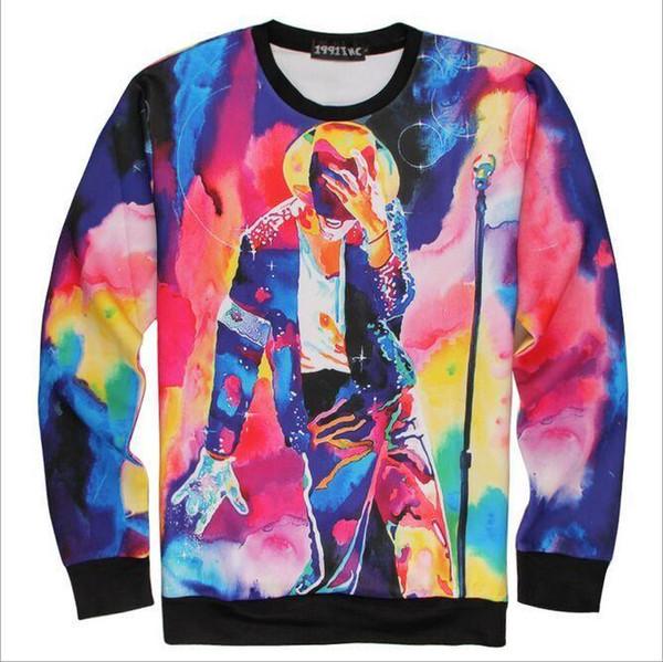 Unisex Moda Suores De Algodão Michael Jackson Impressão Pintura A Óleo Lembrança MJ camisola de dança 100% de Garantia Mulheres / Homens Com Capuz frete grátis