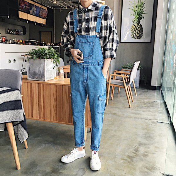 2018 Japanese Style Men's Blue Jeans Sleeveless Coveralls Casual Slim Fit Pants Jumpsuit Rompers Fashion Trousers Overalls M-2XL