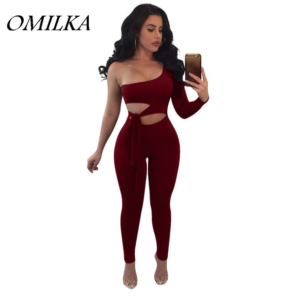 OMILKA 2018 Summer Women One Shoulder Hollow Out Bodycon Bandage Rompers and Jumpsuits Sexy Red Black Blue Club Party Overalls