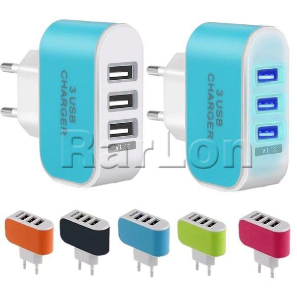 Caricatore da muro USB Ports 3 USB Caricatore da muro 5 V 3.1A LED Caricabatteria da viaggio Caricabatterie EU per Galaxy S8 Note8