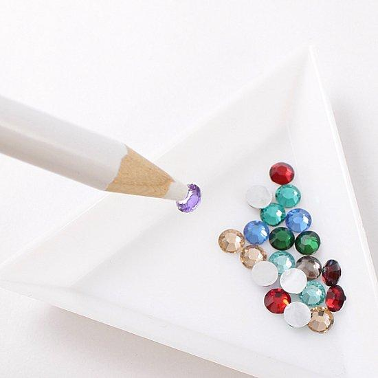 2pcs/set Nail Art Rhinestones Gems Picking Picker Pencil Pen+Triangle Dotting Plate High Quality Manicure Diamonds Tools