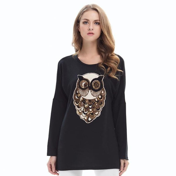 Plus Size M-5XL Shirt Autumn Cute Owl Print T Shirt Women Solid Color Long Sleeve O-Neck Tops Shirt Ladies Casual Loose Basic Tees