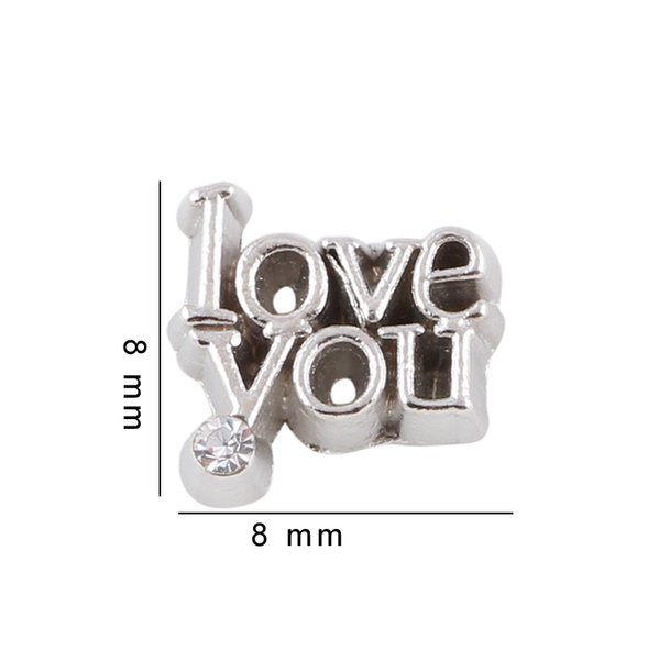 8*8mm Accessories Crystal Tibetan Silver Plated Word Love You Charms For Round Glass Living Locket