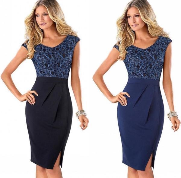 Las mujeres del verano elegante envoltura con paneles Bodycon lápiz vestido Ladies vendaje trabajo Office Dress con hendidura FS2613