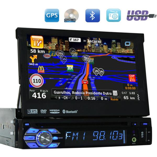 7 '' Radio única Din universal Reproductor de DVD de coche de audio + Radio + one din Navegación GPS + Autoradio + Estéreo + Bluetooth + PC + DVD Automotivo + SD USB RDS Aux.