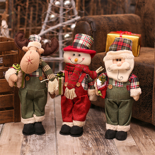 Christmas Decoration for Home 3pcs/lot Santa Claus+Snowman+Elk Dolls Christmas Ornaments Gift New Year Home Display Window Decor