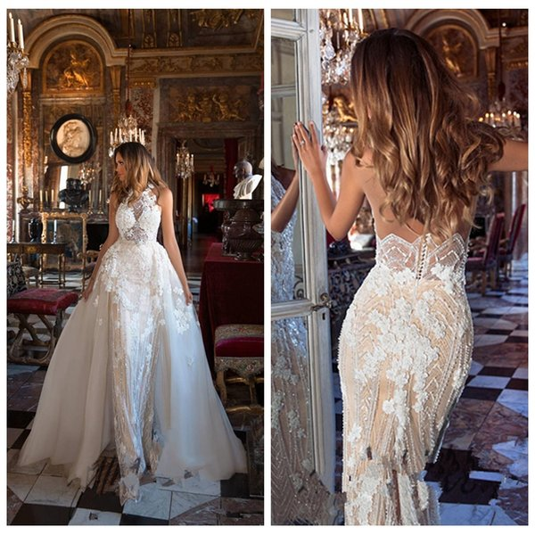 2018 Beautiful Bling Bling Beaded Wedding Dresses Garden With Detachable Train Appliques Lace Sheath Backless Garden Bridal Gowns Milla Nova
