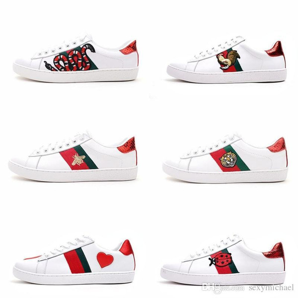 Mens designer luxury shoes Casual Shoes white women sneakers good embroidery bee cock tiger dog fruit on the side with OG box