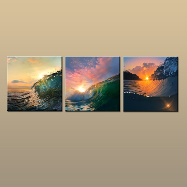 Framed/Unframed Hot Modern Contemporary Canvas Wall Art Print Sunset Wave oil painting Seascape Picture 3 piece Living Room Home Decor ab400