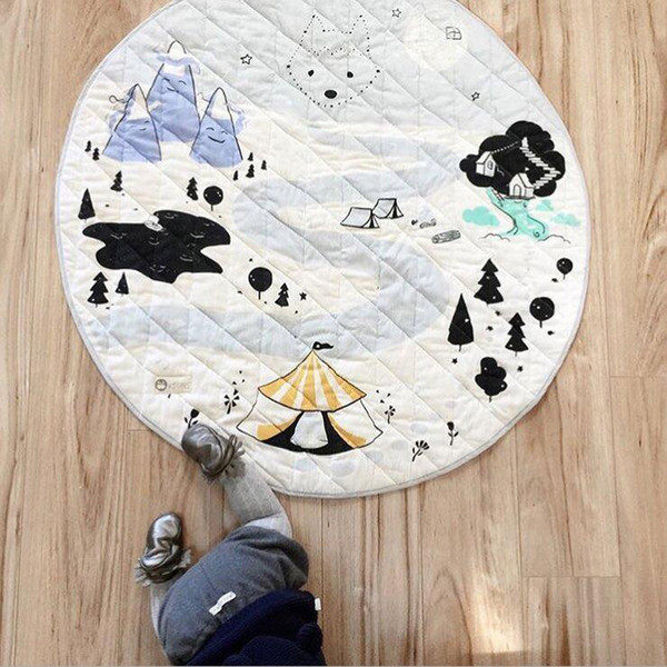 top popular Ins Snow Adventure Children Fashion Play Mat Baby Cotton Crawling Carpet Diameter 35.4inch Home Decor Cartoon Rugs for Toddler Room 2021
