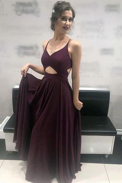 Sexy Long V-neck Burgundy Chiffon Prom Dresses Floor Length Custom Made Spaghetti Sleeveless Formal Gowns for Women