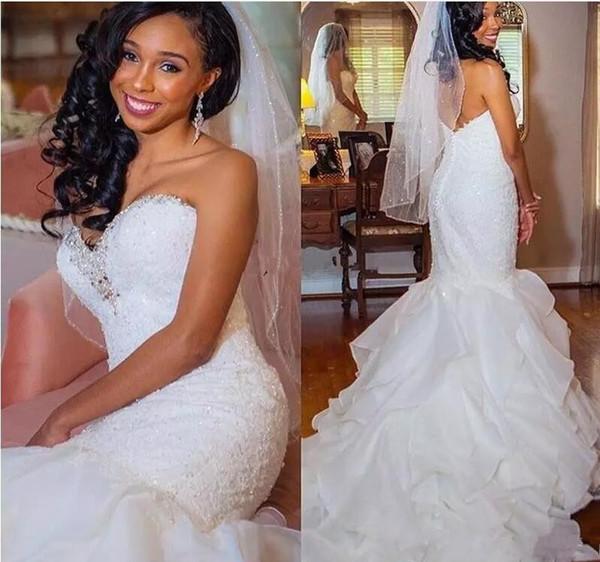 2018 Africa White Lace Mermaid Wedding Dresses Sweet Heart Beaded Sweep Train Cascading Ruffles Bridal Gowns Black Girl Arabic Customized
