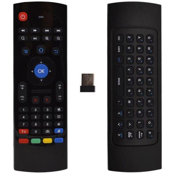 MX3 İşlevli 2.4G Hava Fare Mini Kablosuz Klavye Kızılötesi Uzaktan Kumanda 3-Gyro + 3-Gsensor W USB Kablosuz Alıcı