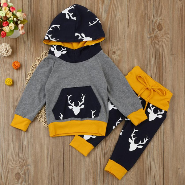 94aaf7a6b988b 2019 Newborn Infant Baby Boy Girl Character Deer Hoodie Tops+Pants Outfits  Clothes Set Cotton Full Hooded Dropshipping #Z30 From Henryk, $37.51 | ...