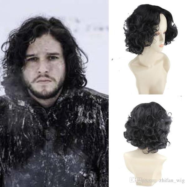 ZF Oyun thrones Cosplay Peruk Jon Kar Cosplay Peruk 25 cm Kısa Cosplay Kıvırcık Kostüm gece bekçi Cadılar Bayramı Partisi