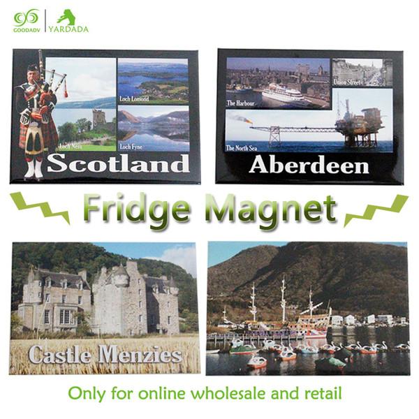 Decoração de casa londres souvenirs turismo imãs de geladeira para artesanato cidade de Escócia tinplate metal geladeira adesivo magnético