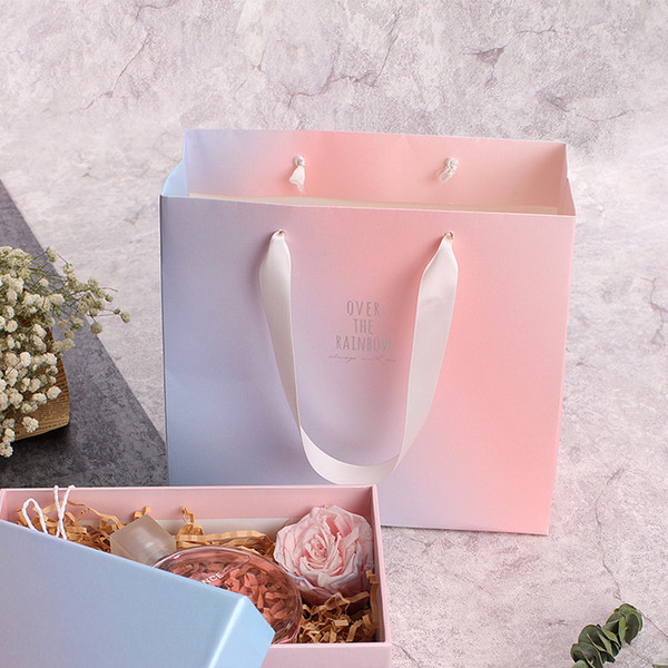 Gradient Color Paper Bags Wedding Party Gift Bags Boutique Marriage Party Souvenirs Package Bags
