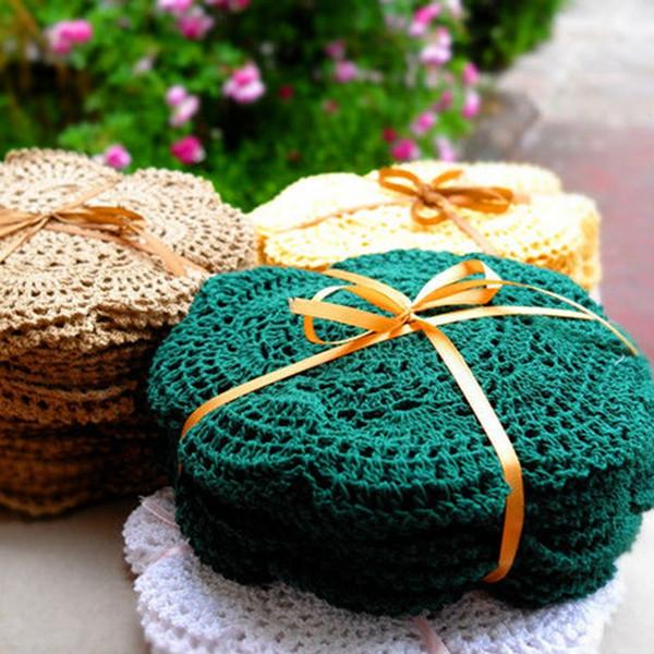 6 pièces / set Nappe Crochet Fait Main Fleurs Colorées Napperon Shabby Chic Look Vintage Crocheté Nappes 20cm / 7.9 pouces