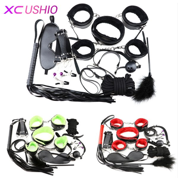 Giochi per adulti BDSM Bondage Restraint Belt 10pcs / set Sex s Nipple Clamp Whip Collar Love Kit Sex Toys per coppie Y18100803