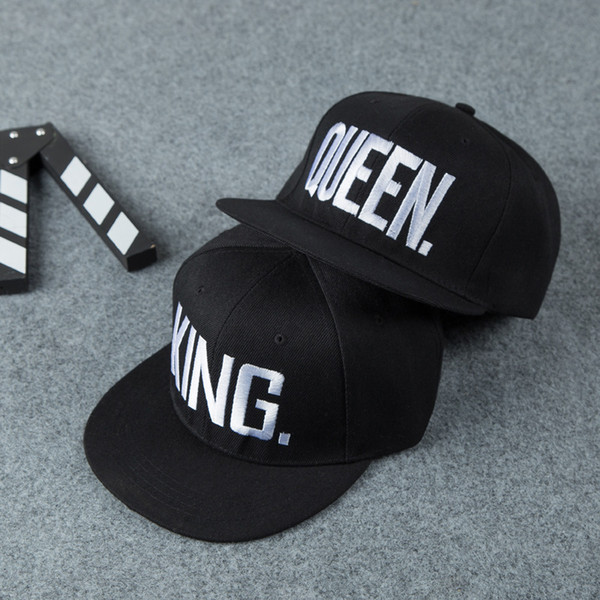 Fashion New King Queen Hip Hop Baseball Caps Embroider Letter Couples Lovers Snapback Sun Hats for Men Women Valentine's Day Gift