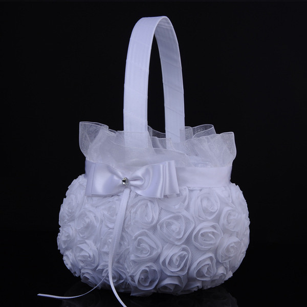 2018 Wedding Ceremony Party Love Case Satin Bowknot Rose Flower Basket for Women Girl DIY Home Decoration Storage Bag Container