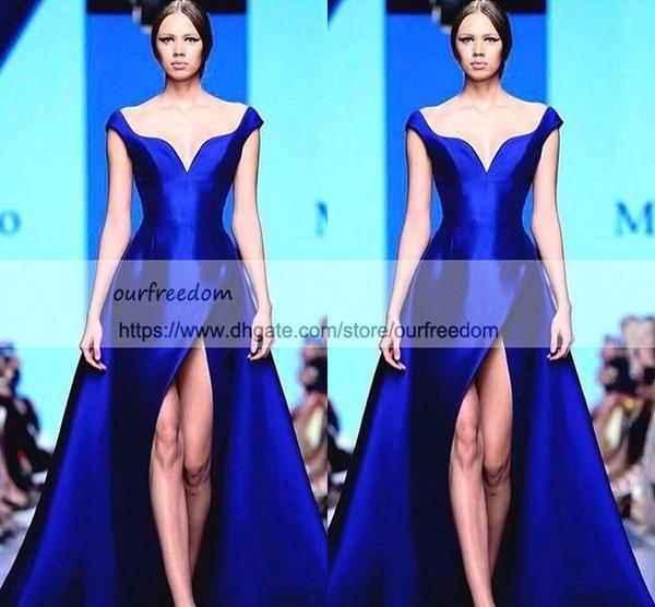 Michael Cinco Bleu Royal Sur Jupe Fente Robes De Soirée 2019 Matte Stain Dubaï Arabe Hors Épaule Occasion Robes De Bal