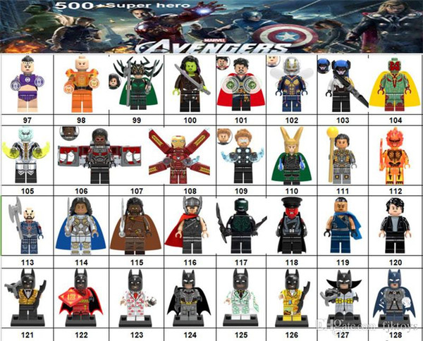Wholsale Super hero Mini Figures Marvel Avengers DC Justice League Wonder woman Deadpool Batman Spiderman Hulk building blocks kids gifts