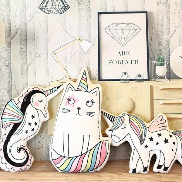 Niedlichen Pferd Plüschtiere Dekorationen Hippocampus Einhorn Katze Spielzeug Kissen Foto Kinder Zimmer Layout Gefüllte Puppe Matten