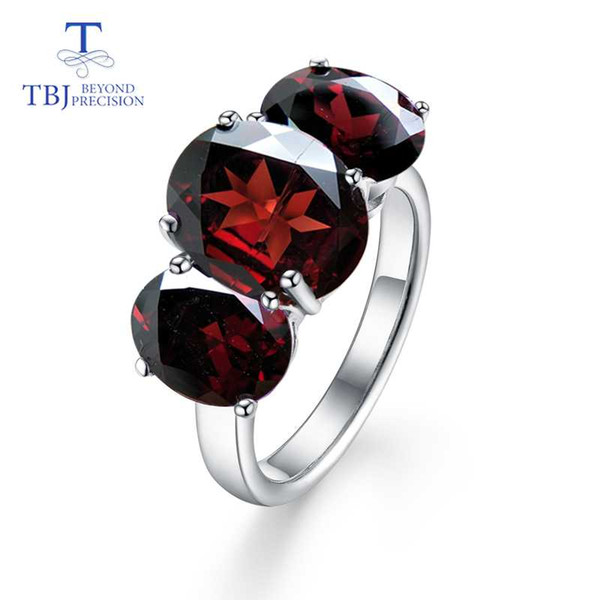 TBJ, Natural Grande granada vermelha e gemstone citrino Anel em 925 prata esterlina festa ou presente de Aniversário para a senhora com o Natal